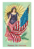 May 31, Memorial Day Greetings, Columbia and Flag, Print
