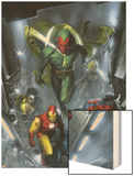 Secret Invasion No.2 Cover: Vision, Iron Man, Spider-Man, Luke Cage and Beast Wood Print