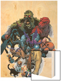 Marvel Pets Handbook Cover: Lockjaw, Lockheed, Devil Dinosaur, Zabu and Old Lace Wood Print by Karl Kerschl