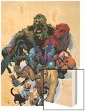 Marvel Pets Handbook Cover: Lockjaw, Lockheed, Devil Dinosaur, Zabu and Old Lace Wood Print by Karl Kerschl