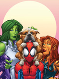 Marvel Adventures Super Heroes No.13 Cover: Spider-Man, She-Hulk and Tigra Plastic Sign by Patrick Scherberger
