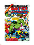 Giant-Size Defenders No.4 Cover: Hulk, Dr. Strange, Hyperion, Dr. Spectrum and Nighthawk Fighting Plastic Sign by Don Heck