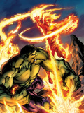 Incredible Hulk & The Human Torch: From the Marvel Vault No.1 Cover: Fighting and Flaming Plastic Sign by Mark Bagley