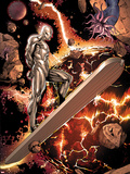 Silver Surfer No.3: Riding through Space Plastic Sign by Harvey Tolibao