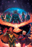 What If Avx 2 Cover: Nova, Vision, Thor, Ms. Marvel, Summers, Hope, Magneto Plastic Sign by Jorge Molina