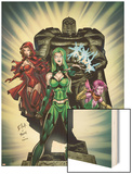 Exiles No.2 Cover: Polaris, Scarlet Witch and Blink Wood Print by Dave Bullock