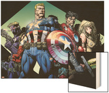 Ultimatum No.3 Group: Captain America, Hawkeye, Iron Man and Valkyrie Wood Print by David Finch