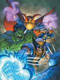 Marvel Team-Up No.11 Cover: Hulk, Wolverine, Dr. Strange and Nova Plastic Sign by Paco Medina