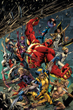 Age of Ultron 5 Cover: Red Hulk, Captain America, Storm, Iron Man, Moon Knight, Hawkey, Wolverine Cartel de plástico por Bryan Hitch