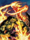 Incredible Hulk & The Human Torch: From the Marvel Vault No.1 Cover: Fighting and Flaming Prints by Mark Bagley