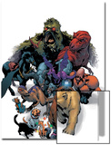 Marvel Pets Handbook Cover: Lockjaw, Lockheed, Devil Dinosaur, Zabu and Old Lace Prints by Karl Kerschl