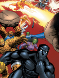 Black Panther No.29 Group: Black Panther, Thing, Storm, Human Torch and Lyja Carteles de plástico por Francis Portella