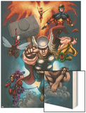 The Official Handbook Of The Marvel Universe: Book of the Dead 2004 Cover: Thor Jumping Print by Salvador Larroca