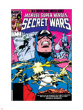 Secret Wars No.7 Cover: Captain America, Spider Woman, Doctor Octopus and Wolverine Plastic Sign by Mike Zeck