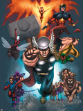 The Official Handbook Of The Marvel Universe: Book of the Dead 2004 Cover: Thor Jumping Plastic Sign by Salvador Larroca