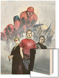 Powerless No.1 Cover: Spider-Man, Peter Parker, Wolverine, Daredevil, Matt Murdock and Logan Wood Print by Michael Gaydos