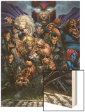 Ultimatum No.3 Cover: Magneto, Sabretooth, Madrox, Mystique, Blob, Quicksilver and Lorelei Wood Print by David Finch