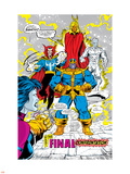 Infinity Gauntlet No.5 Group: Thanos, Dr. Strange, Silver Surfer, Adam Warlock and Nebula Crouching Plastic Sign by George Perez