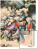 Marvel Adventrues Super Heroes No.5: Captain America and Rhino Holding the Shield Wood Print by Chris Cross