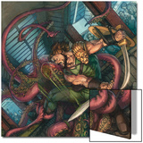 Herc No.4 Cover: Hercules Fighting and Slashing a Sea Monster Posters by Michael William Kaluta