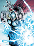 Marvel Adventures Super Heroes No.19: Thor Throwing Mjolnir with Lightning and Energy Plastic Sign by Stephen Segovia