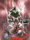 Fear Itself: Hulk vs. Dracula No.3 Cover: Hulk Standing Over a Fallen Dracula Plastic Sign by Gabriele DellOtto