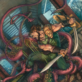 Herc No.4 Cover: Hercules Fighting and Slashing a Sea Monster Wall Decal by Michael William Kaluta
