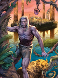 Ka-Zar No.1: Ka-Zar and Zabu Walking in the Jungle Plastic Sign by Pascal Alixe