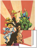 The Official Handbook Of The Marvel Universe Teams 2005 Group: Sunfire Wood Print by Gus Vazquez