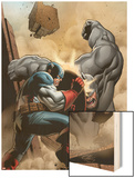 Marvel Adventrues Super Heroes No.5 Cover: Captain America and Rhino Fighting Wood Print by Clayton Henry