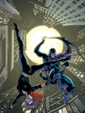 Marvel Adventures Super Heroes No.17 Cover: Black Widow and Hawkeye Jumping Plastic Sign by Barry Kitson