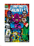 Infinity Gauntlet No.5 Cover: Thanos, Galactus, Kronos, The Stranger, Lord Chaos and Master Order Plastic Sign by George Perez