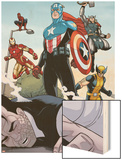 Heroic Age: One Month to Live No.5: Captain America, Wolverine, Iron Man, Thor, and Spider-Man Wood Print by Jamie McKelvie