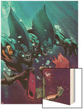 Fear Itself: The Deep No.3 Cover: Tigershark and Lyra Fighting Under Water Wood Print by Lee Garbett