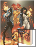 Marvel Divas No.1 Cover: Hellcat, Black Cat, Captain Marvel and Firestar Wood Print by J. Scott Campbell