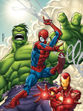 Marvel Adventures Super Heroes No.1 Cover: Spider-Man, Iron Man and Hulk Plastic Sign by Roger Cruz