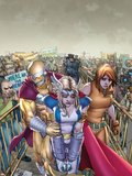 Youth in Revolt No.2 Cover: Thor Girl, Prodigy, and Ultra Girl Walking through a Crowd Plastic Sign by Giuseppe Camuncoli