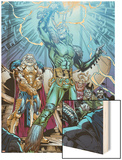 Marvel Adventures Super Heroes No.19: Loki Standing with Mjolnir Wood Print by Kevin Sharpe