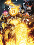 Timestorm 2009/2099 No.2 Cover: Ghost Rider, Punisher, Cerebra, Spider-Man and Human Torch Plastic Sign by Salvador Larroca