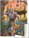 Ka-Zar No.1: Ka-Zar and Zabu Walking in the Jungle Wood Print by Pascal Alixe
