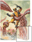 Wolverine/Hercules: Myths, Monsters & Mutants No.4 Cover: Trapped by a Sea Monster Wood Print by Joe Jusko