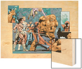 Alpha Flight No.7 Group: Sasquatch, Alpha Flight, Nemesis and Yukon Jack Crouching Wood Print by Dave Ross
