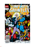 Infinity Gauntlet No.6 Cover: Adam Warlock, Thanos, Nebula, Silver Surfer, Hulk and Thor Fighting Plastic Sign by George Perez