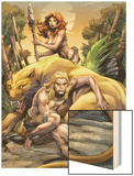 Ka-Zar No.1 Cover: Ka-Zar, Zabu, and Shanna The She-Devil Wood Print by Pascal Alixe