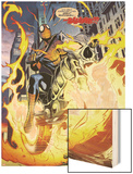 Amazing Spider-Man/Ghost Rider: Motoerstorm No.1: Spider-Man Riding a Flaming Motorcycle Wood Print by Lee Garbett