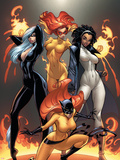 Marvel Divas No.1 Cover: Hellcat, Black Cat, Captain Marvel and Firestar Wall Decal by J. Scott Campbell