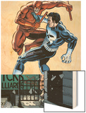 Daredevil Vs Punisher No.1 Cover: Daredevil and Punisher Wood Print by Dave Lapham