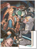 Young Allies No.5 Cover: Nomad, Gravity, Firestar, and Spider-Girl Fighting Wood Print by David LaFuente