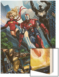 Ms. Marvel No.44 Group: Iron Patriot, Wolverine, Hawkeye, Ms. Marvel and Spider-Man Wood Print by Sana Takeda