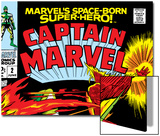 Captain Marvel No.2 Cover: Super Skrull and Captain Marvel Swinging Prints by Gene Colan